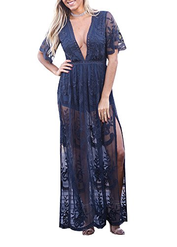 Wicky LS Women's Sexy Short Sleeve Long Dress Low V-Neck Lace Romper Blue L ()