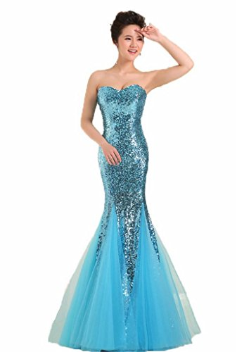 YORFORMALS Women's Sweetheart Mermaid Floor Length Sequin Prom Dress Size 18 Light Blue (Light Blue Mermaid Dress compare prices)