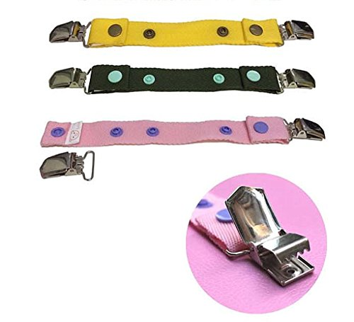 Borje Baby Adjustable Snap Belt With Clip Suitable For Any Pants,One Pack of 3 Color