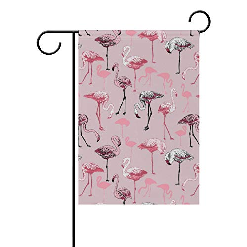 Seasonal and Holidays Garden Flag Flamingo Birds Festive Flags for Lawn & Yard Decor- 100% Double Sided Polyester, Premium Quality Durable Material- Outdoor Flags-Best for Party Yard and Home Outdoor