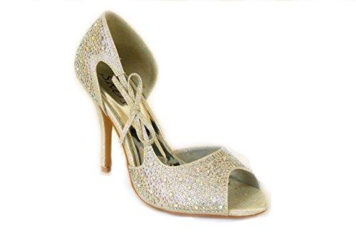 Kitten corte noche Ladies T33 Diamante Zapatos Truffle de Silver Silver Tacón nupcial SKO'S A Sparkle de PFqXHPw