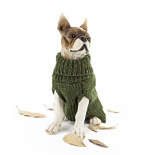 Army Costume Make Your Own (JAMSMOR Dog Cable Knitwear Winter Clothes Sweater Apparel Pet Dog Cat Turtleneck Classic Straw-Rope Costume (Army green, L))