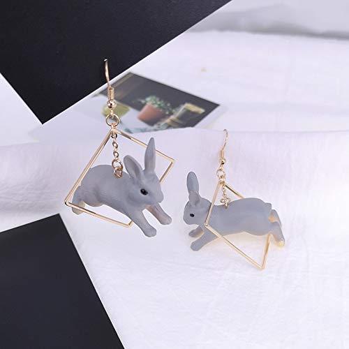 QIFU-EARRINGS HOME Personality Funny Cute Three-dimensional Rabbit Earrings Geometric Box Animal Earrings