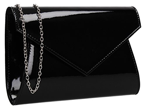 Lenny Metallic Envelope Patent Leather Womens Party Prom Wedding Ladies Clutch Bag - Black
