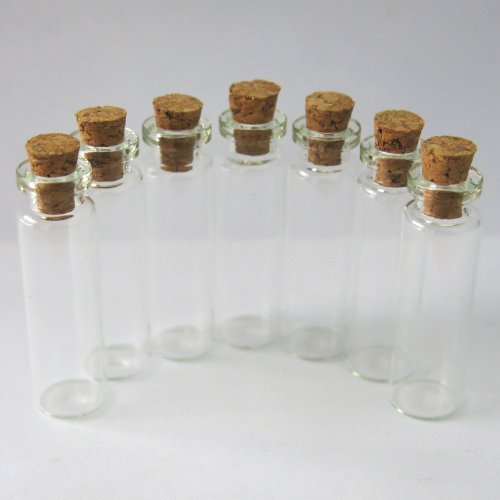 Beading Station 10-Pack BSI Mini Glass Bottles Cork Tops Message Weddings Wish Jewelry Party Favors, 40 by 12mm