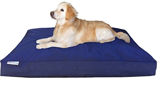 Dogbed4less XXL Extra Large Memory Foam Dog Bed Pillow with Waterproof Liner and Heavy Duty Ballistic Cover for Large Pet 55X37 Inches, Blue