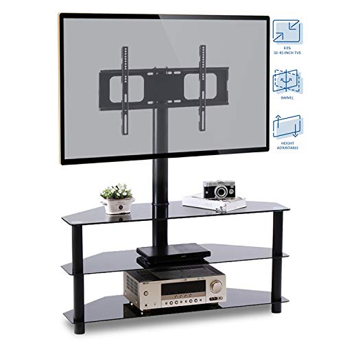 - Rfiver Corner Floor TV Stand with Swivel Mount for Most 32