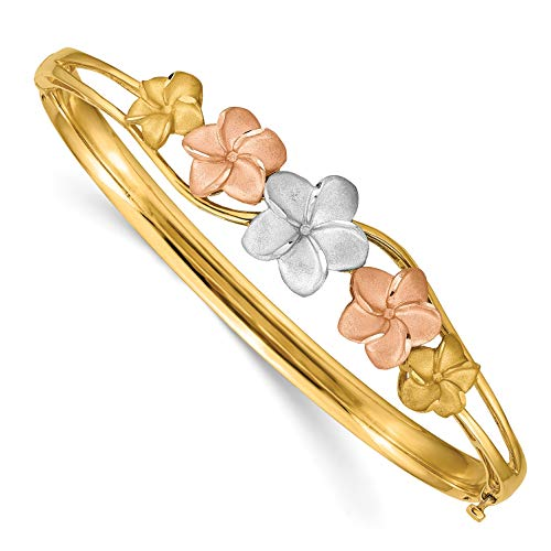 - Brilliant Bijou Unisex Solid 14k Yellow Gold Polished Brushed Hinged Diamond-Cut Plumeria Bangle Bracelet