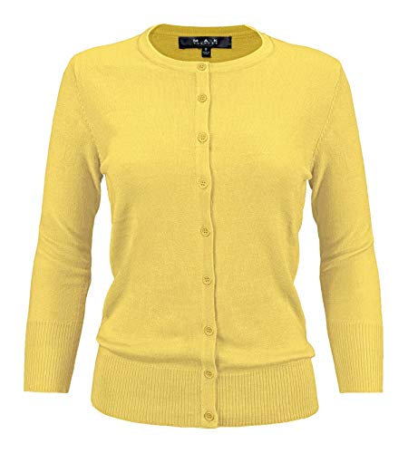 YEMAK Women's 3/4 Sleeve Crewneck Button Down Knit Cardigan Sweater CO079-BYL-M Baby Yellow (Dot Cardigan Sweater)