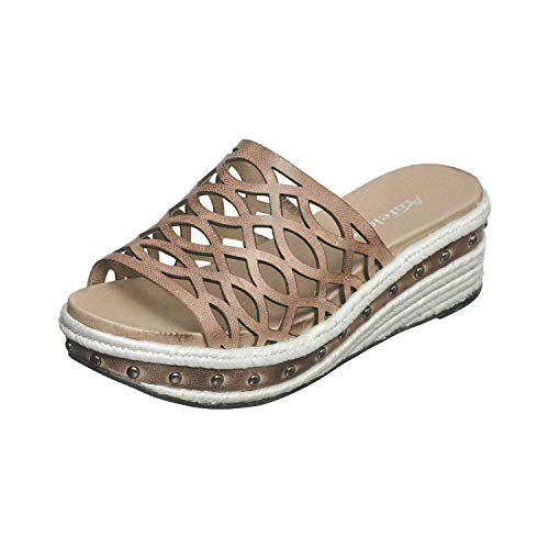 Antelope Women's 445 Grey Leather Laser Cut Low Studs Sandals 39 ()