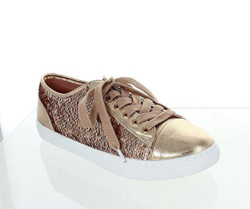 Seulement U Séquence Baskets Confortables De Mode Paillettes Métallique Lace Up Slip (5.5, Or Rose)