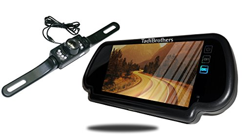 Tadibrothers 7 Inch Mirror with License Plate Backup - Camera Backup Mirror Tadibrothers