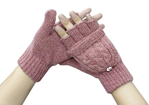 Women Ladies Girls Winter Chunky Wool Crochet Convertible Gloves Warm Half Finger Mittens Stretchy Thermal Cable Knitted Flip Top Fingerless Texting Gloves with Mitten Cover Hand Warmer Christmas Gift