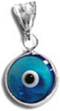 Evil Eye 27mm Turkish Greek Charm Oxidized Circle Pendant in 925 Sterling Silver