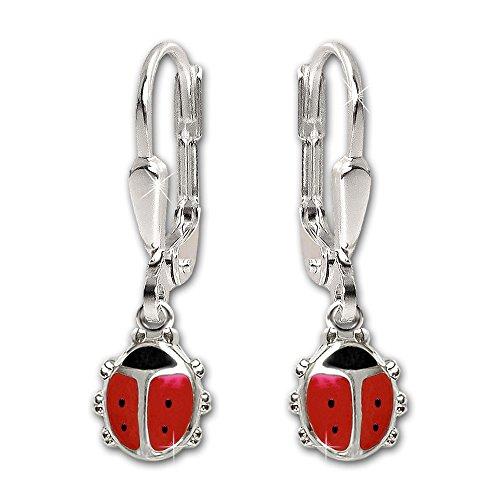 Clever Juego de joyas plateado colgante Mini Mariquita Rojo Negro, passende tanque Pendientes y cadena 40cm de plata de ley 925
