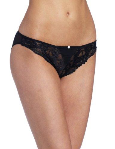 Jezebel Women's Ideal Bikini Brief, Black, Large (Garter Felina)