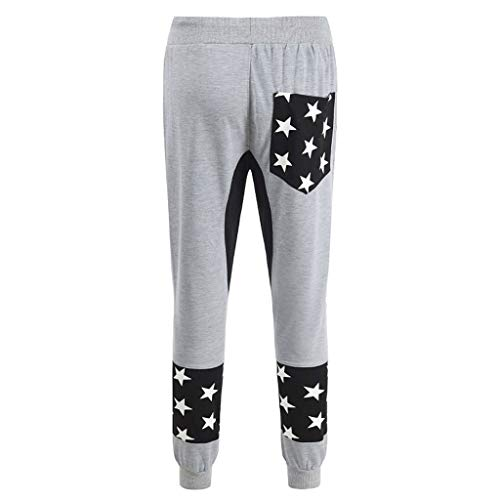 Allywit Men's Star Printed Sports Pant Fashionable Loose Comfortable Fitness Exercise Pant Gray by Allywit-Pants (Image #2)