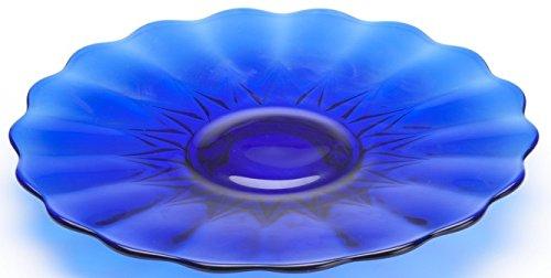 Large Serving Platter - Nicole Pattern - Mosser Glass USA (Cobalt Blue)