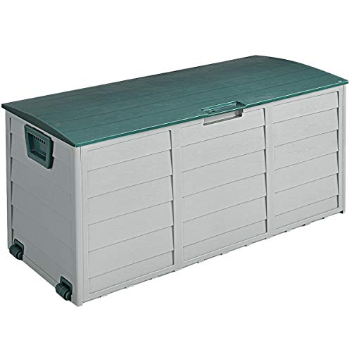 """Giantex 44"""" Deck Storage 79 Gallon Box Outdoor for Patio Garage Shed Backyard Garden Furniture of PP Material W/ 2 Wheels and Handles for Easy Carrying Container Garden Tool Box"""