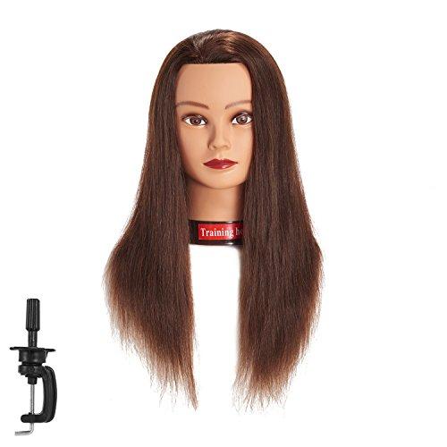 20-22 100% Human hair Mannequin head Training Head Cosmetology Manikin Head Doll Head with free Clamp (brown)