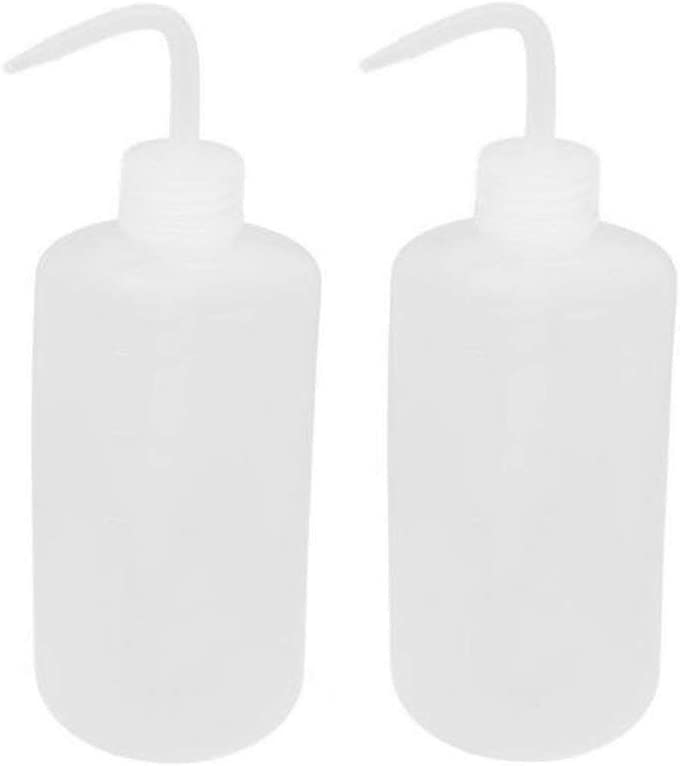 VASANA 2PCS 1000ml Empty Clear Plastic Plant Flower Succulent Watering Bent Mouth Watering Cans Measuring Squeeze Bottle for Home Garden Use