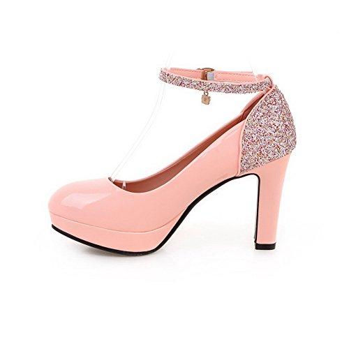 Blend Pink Materialien Rund Schuhe Schnalle Zehe Hoher AllhqFashion Rein Damen Absatz Pumps 5q7xpP