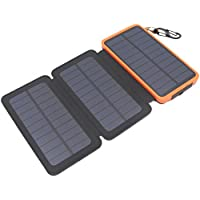 Itscool Solar Charger Solar Power Bank 12000mAh Battery 9 LED Light with 3 or 4 Solar Panels Waterproof Dual USB for iphone, Smartphones, Cameras All 5V Devices (3 Panels Orange)