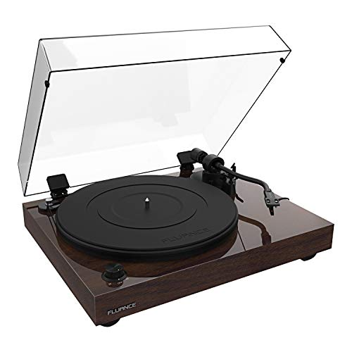 Fluance RT82 Reference High Fidelity Vinyl Turntable Record Player with Ortofon OM10 Cartridge, Speed Control Motor, Solid Wood Plinth, Vibration Isolation Feet - Walnut