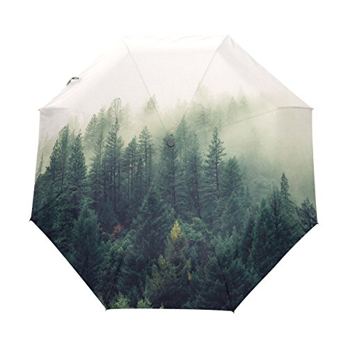 Compact Sun and Rain Travel Umbrella Windproof UV Protection Umbrella Auto Open Close Folding Umbrellas Snowman Smoky Woods 1 (Wood Snowman Handle)