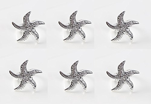 Astra shop Beautiful Starfish Napkin Rings Buckles for Dinners, Parties, Wedding Supplies, Set of 6 by Astra shop