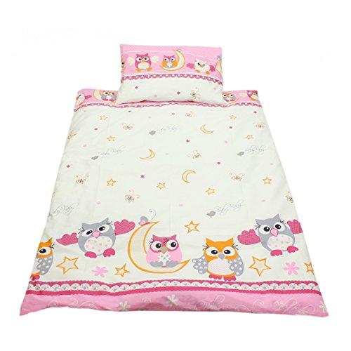 Kinderbettwäsche 100x135 Bettgarnitur Baby Bettwäsche 2 tlg. Bettset 100% Baumwolle Eulen- Bärchenmotiv, Farbe: Eulen 2 Rosa, Größe: 135x100 cm