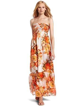 Just For Wrap Dresss Women's Tube Printed Smock Maxi Dress, Dark Orange, Medium