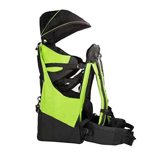 Clevr Deluxe Baby Backpack Hiking Toddler Child Carrier Lightweight with Stand & Sun Shade Visor, Green | 1 Year Limited Warranty ()