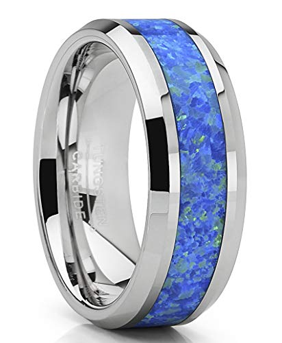 - Metal Masters Co. Tungsten Carbide Wedding Band Ring with Blue Green Simulated Opal Inlay 8mm 10.5