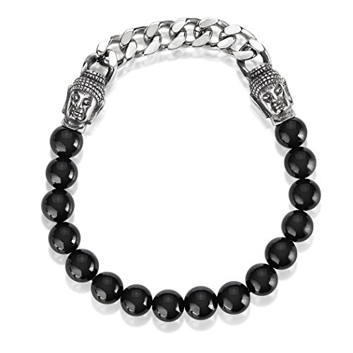 - Crucible Polished Stainless Steel Curb Chain Buddha Black Onyx Beaded Stretch Bracelet - (8mm Wide)
