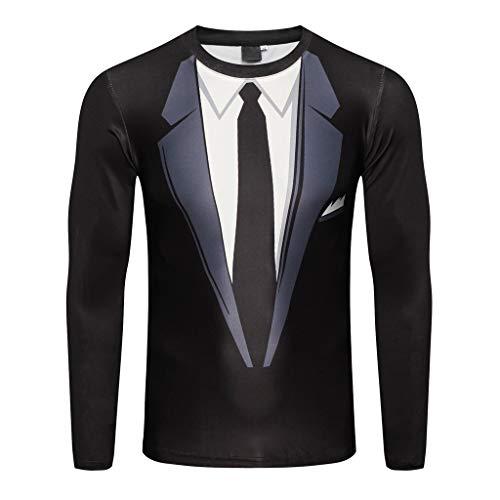 Mysky Merry Christmas Men Suit Pattern 3D Print Long Sleeve T-Shirt Blouse Men Casual Round Collar Pullover Top -
