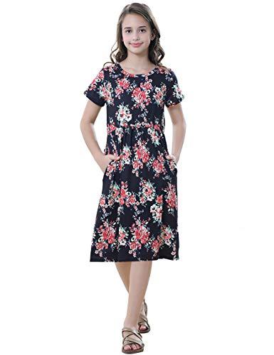 Girls Floral Maxi Dress Kids Summer Casual Pocket Black Short Sleeve Girl Tshirt Dress from 21KIDS