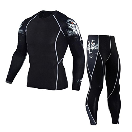 Morecome Men Workout Sports Gym Running Athletic Pants+Shirt Sets (M, - Running Clothes