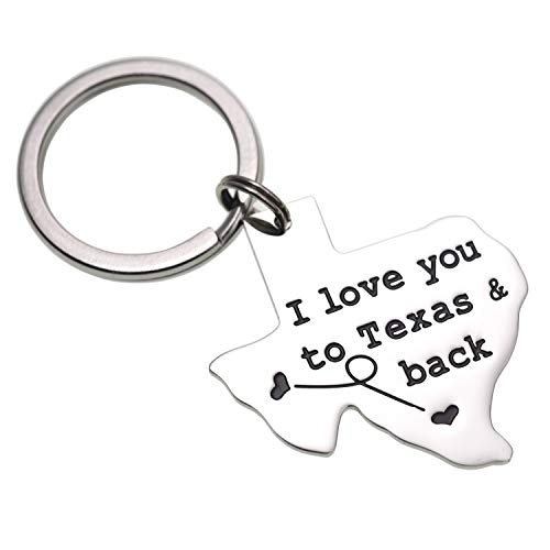 LParkin I Love You to Texas and Back Keychain Boyfriend Girlfriend Long Distance Relationship Gift Going Away Gifts Friendship (Keychain) (Texas Boyfriend)
