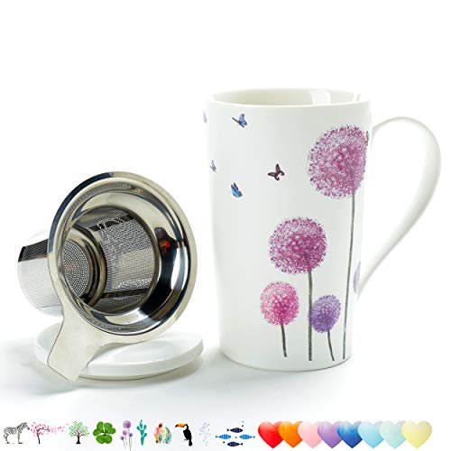 TEANAGOO M58-5 Tea Cup with Filter and Lid, 18 OZ, Dandelion, Dom Dad Women Travel Teaware with Infuser, Tea Cup Steeper Maker, Brewing Strainer for Loose Leaf Tea,Diffuser mug set for Lover Gift