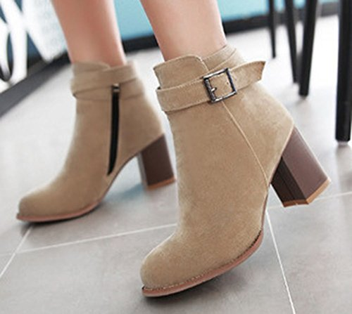 Easemax Womens Elegant Faux Suede Side Zipper Low Heel Ankle Boots Khaki SUiAFx