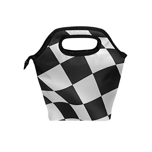 Lunch Tote Bag Black White Checkered Flag Cooler Handbags with Zipper for Picnic -