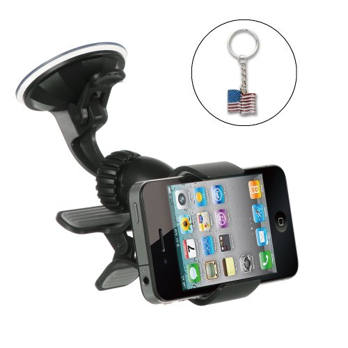Universal Car Windshield and Dash Mount Holder for GPS/ iPhone / PDA/ Smartphones/ MP4 – Includes a USA Flag Key Chain, Best Gadgets