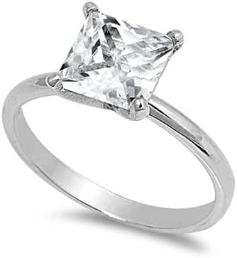 925 Sterling Silver Cubic Zirconia Classic Solitaire Pricess Cut Ring 8MM