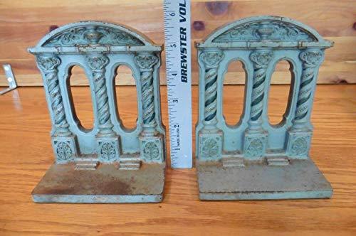 2 Vintage B&H Bradley & Hubbard Cast Iron Parthenon Column Bookends door stops ()