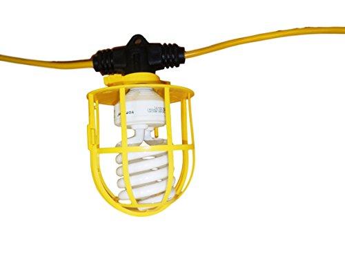 100 Foot Indoor Outdoor Commercial Contractor Grade 10 Socket Plastic Cage String Lights