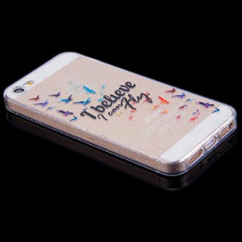 Funda iPhone 5S/SE,SainCat Moda Alta Calidad suave de TPU Silicona Suave Funda Carcasa Parachoques Diseño pintado Patrón para Funda Barniz TPU Silicona Case Cover Caja Suave Gel Shock Absorción Anti R Volar