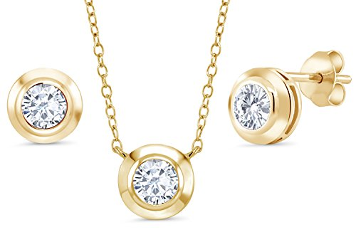 Created Moissanite 18K Yellow Gold Plated Silver Pendant Earrings Set With Chain by Gem Stone King