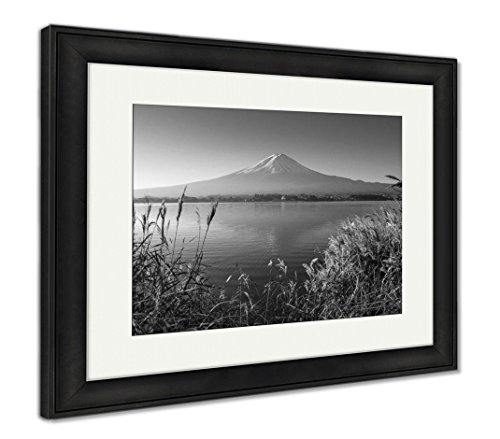 Mountain Fuji in Morning from Lake Kawaguchiko, Wall Art Home Decoration, Black/White, 30x35 (Frame Size), Black Frame, AG5910127 ()