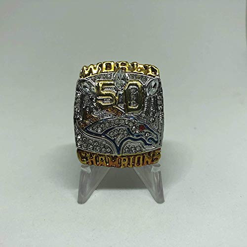 Peyton Manning #18 Denver Broncos High Quality Replica Super Bowl 50 L Ring Size 13.5 Silver Broncos